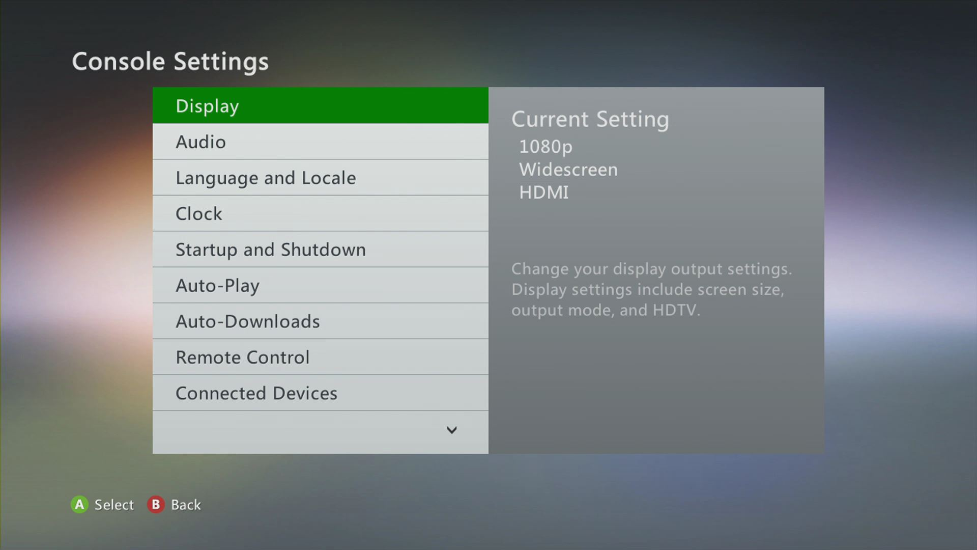 Console Settings, Display